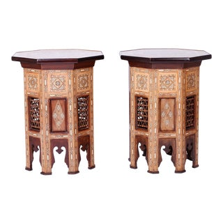 Antique Inlaid Syrian Side Tables - A Pair For Sale