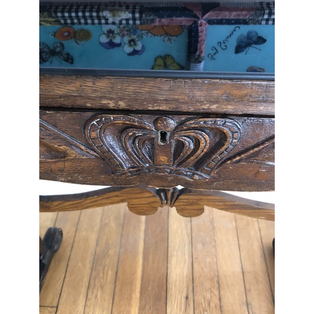 Campaign Antique English Carved Oak End Table With Crown and Black Glass Top For Sale - Image 3 of 11