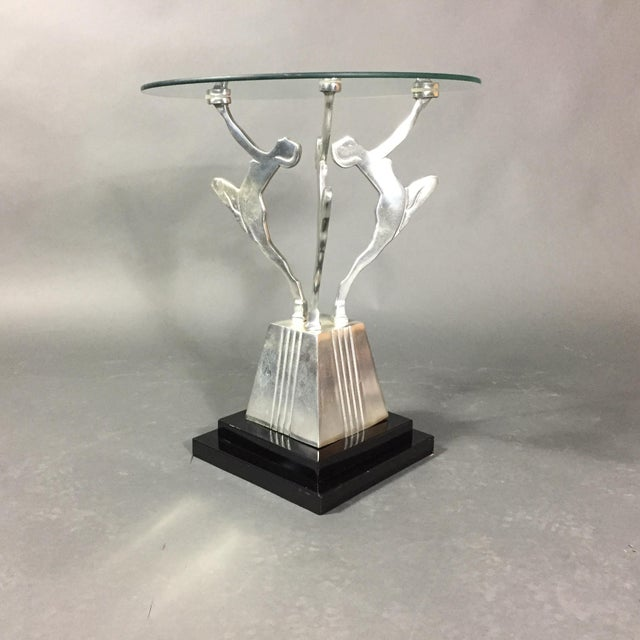 Black Art Deco Figural Metal Cocktail Table, Usa, 1950s For Sale - Image 8 of 8