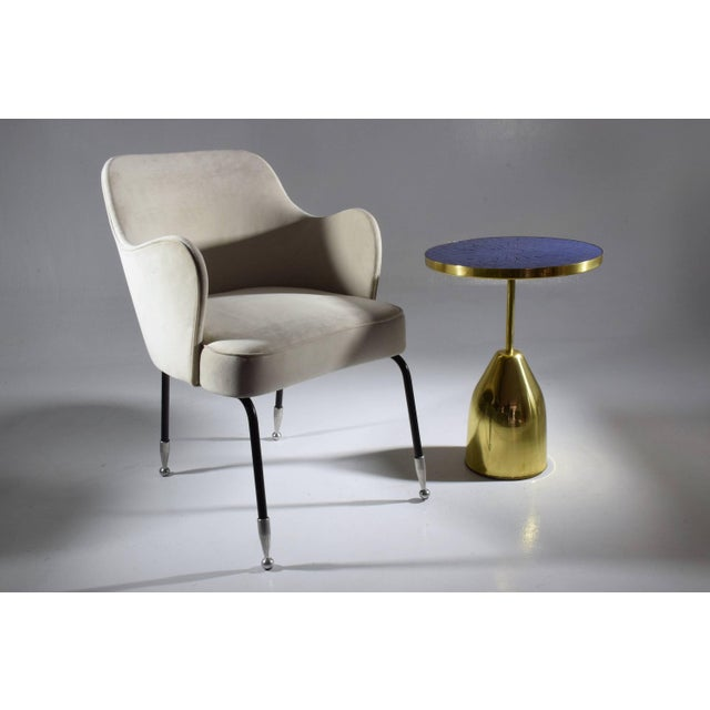 Contemporary handcrafted guéridon side table composed of a thick solid brass structure and designed with an intricate blue...