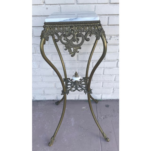 Vintage Marble Top Wrought Iron Pedestal For Sale - Image 9 of 9