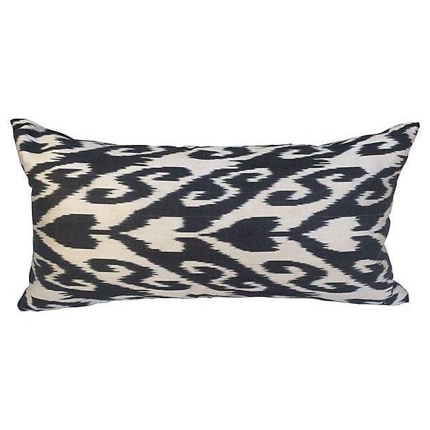 Black & White Silk Ikat Pillow For Sale