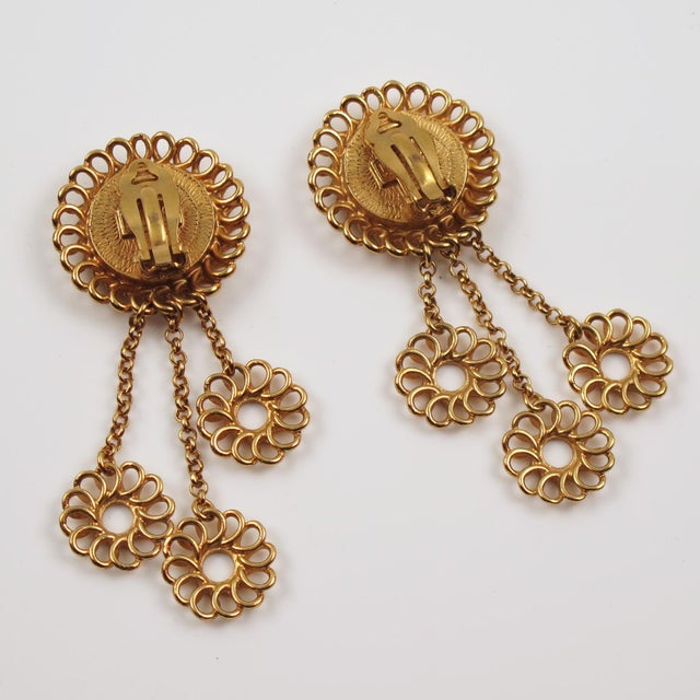 1980s Kenzo Paris Drop Dangling Floral Gilt Metal With Ceramic Clip on Earrings For Sale - Image 5 of 8