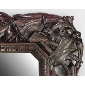 Americana 19th c. Wall Mirror Carved with American Iconography For Sale - Image 3 of 8