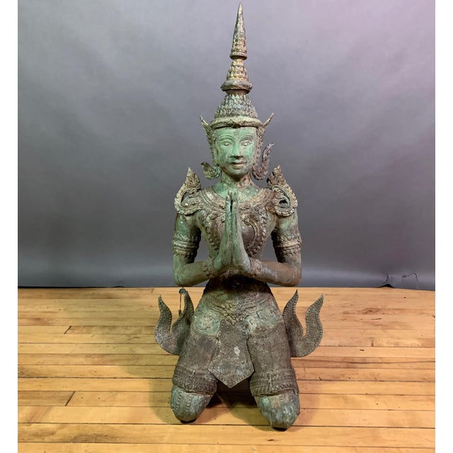 "Early 1900s Mythologic Thepphanom Angel 30"" Bronze Statue, Thailand For Sale - Image 12 of 12"
