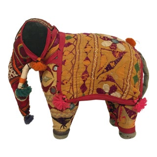 Hand-Crafted Anglo Raj Vintage Stuffed Cotton Embroidered Elephant, India For Sale