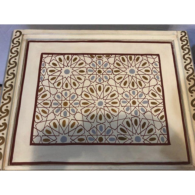 Moorish Style White Blue-Gray and Burgundy Night Stands - a Pair For Sale - Image 11 of 12