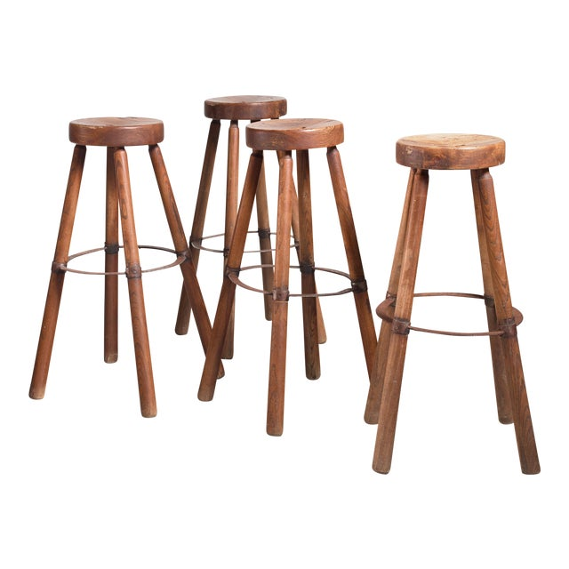 Set of Four Wooden Stools With Metal, France For Sale