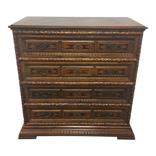 Vintage Carved & Inlaid 4 Drawer Dresser - Image 1 of 9