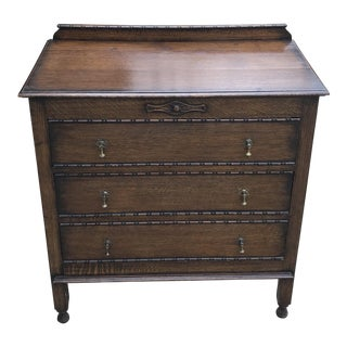 20th Century Jacobean 3-Drawer Chest With Brass Pulls For Sale