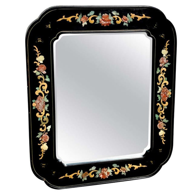 Glass Chinese Export Lacquer and Hardstone Mirror For Sale - Image 7 of 7