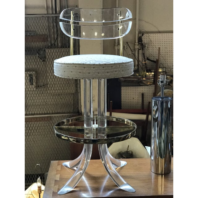 Charles Hollis Jones Lucite and Brass Bar Stools - a Pair For Sale In Seattle - Image 6 of 7