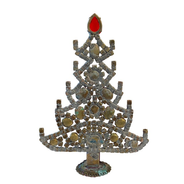 Traditional Ruby Red Czech Rhinestone Christmas Tree For Sale - Image 3 of 5
