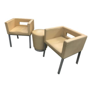 Modern Keyhole Back Leather Chairs & Ottoman - Set of 3 For Sale