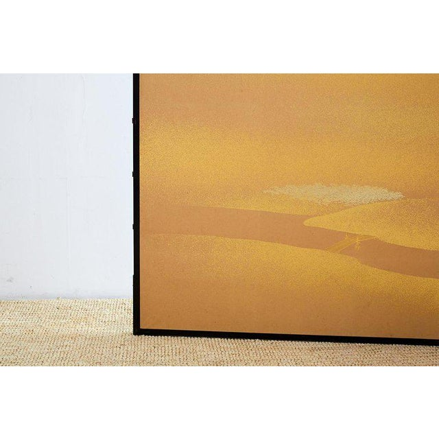 Japanese Two-Panel Gold Leaf Screen by Yoshikawa For Sale - Image 4 of 13