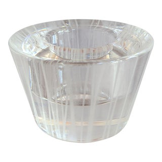 Vintage Orrefors Crystal Striped Votive Tealight Candle Holder For Sale