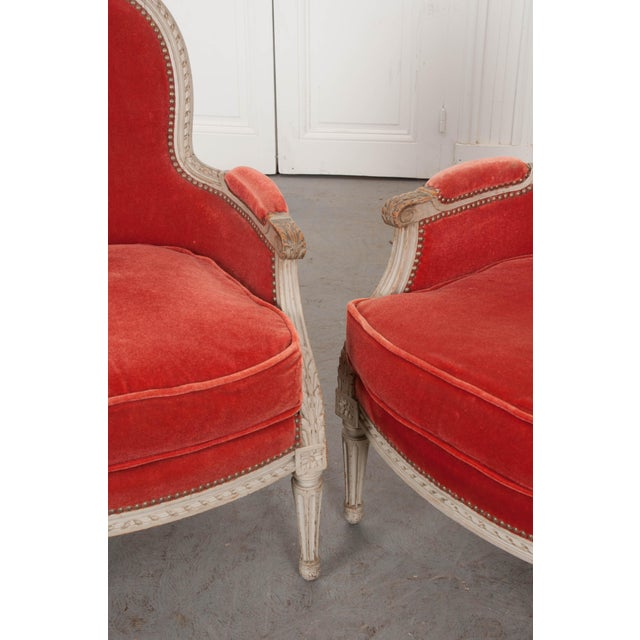 19th Century French 19th Century Louis XVI Style Bergères -A Pair For Sale - Image 5 of 12