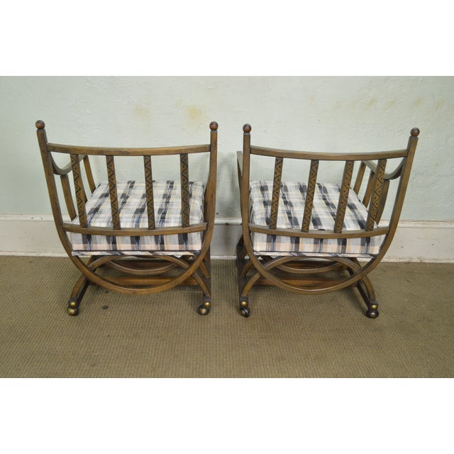 Custom Pair of Mid Century Modern U Shaped Southwest Influenced Bent Wood Lounge Chairs For Sale - Image 9 of 10