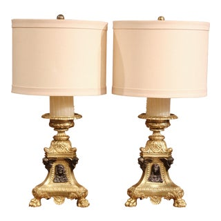 19th Century French Patinated Bronze Candlesticks Made Into Table Lamps - a Pair For Sale