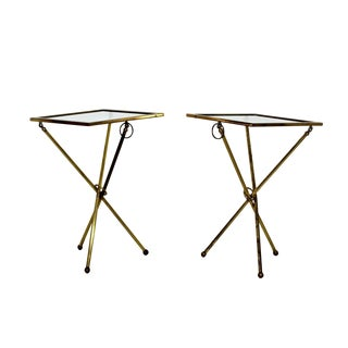 Mid Century Modern Pair Brass Glass Folding Side Tables Italian Lacca Era 1950s For Sale