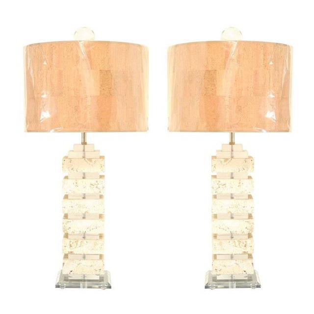 Restored Pair of Vintage Limestone and Lucite Lamps with Blown Glass Finials For Sale - Image 9 of 9