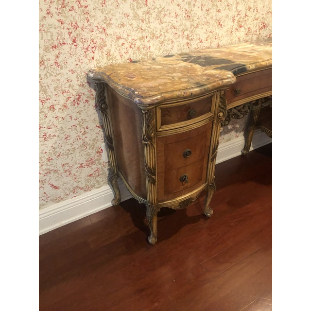 1910s Antique Marble Top Vanity For Sale - Image 5 of 12