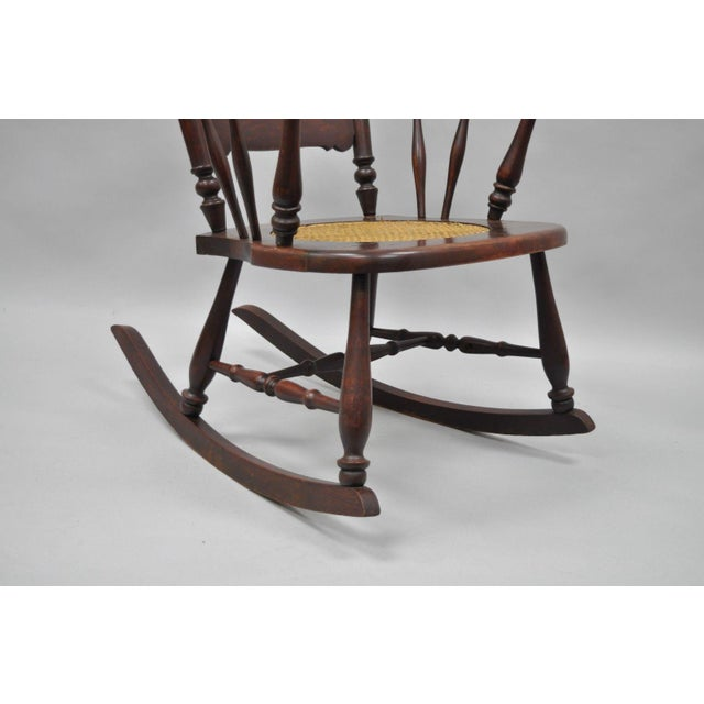 Antique Carved Mahogany Eagle Rocking Chair Rocker Victorian Figural Cane Seat - Image 6 of 12