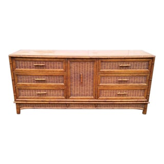 Vintage American of Martinsville Faux Bamboo and Wicker Lowboy Dresser For Sale