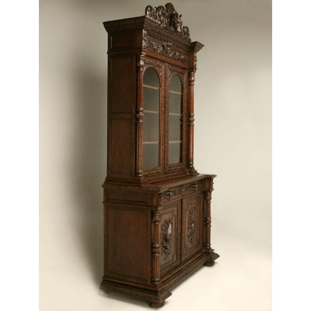 Antique French, Heavily Carved Oak Hunt Cabinet with Intricate Fox Crown -  Image 2 of - Exquisite Antique French, Heavily Carved Oak Hunt Cabinet With