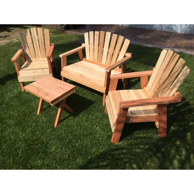 Natural Redwood Patio Set - Set of 4 - Image 6 of 11