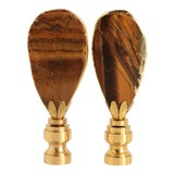 Image of Gold Gilded Tiger's Eye Lamp Finials - a Pair For Sale