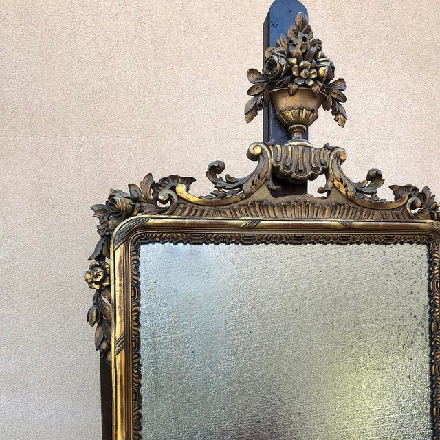 Gold 19th Century Italian Carved Giltwood Mirror For Sale - Image 8 of 11
