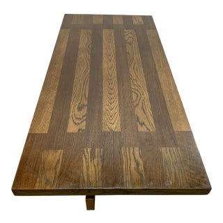 1970s Lane Brutalist Walnut and Oak Coffee Table For Sale