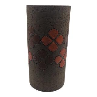 Rosenthal Netter Vase With Orange and Brown Enamel Floral Motif For Sale