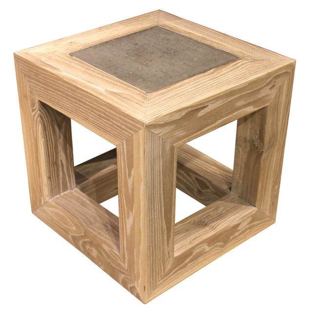 Contemporary Stone Top Cube Table For Sale - Image 3 of 7