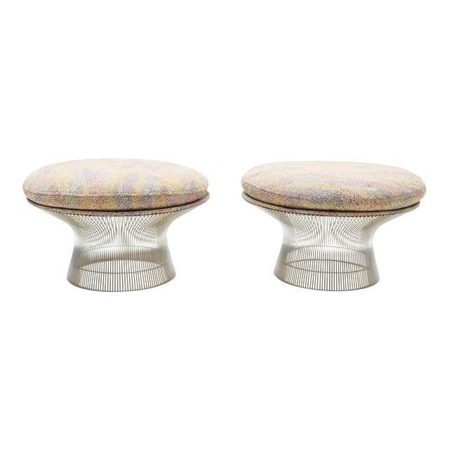 1970s Vintage Warren Platner Nickel Stools - a Pair For Sale