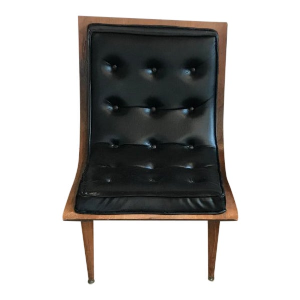 1960s Vintage Carter Brothers Black Scoop Chair For Sale