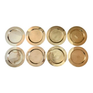 Handmade Solid Brass Danish Chargers/8 For Sale
