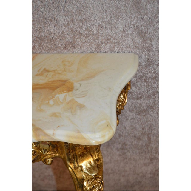 Carved French Style Marble Top Console Table - Image 9 of 11