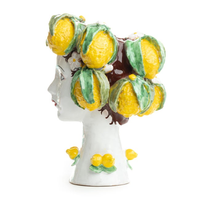 DESCRIPTION This d'arte ceramic sculpture with lemons is hand crafted by Ivana Dolfi in Montelupo, Italy. The modern art...