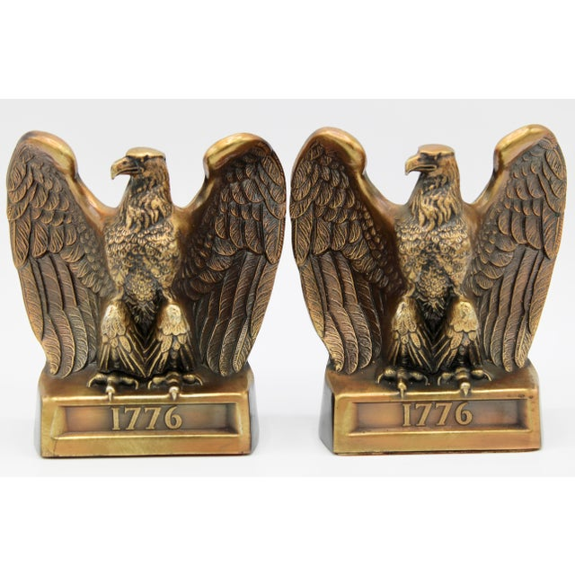 "Vintage ""1776"" American Federal Eagle Bookends For Sale - Image 11 of 13"