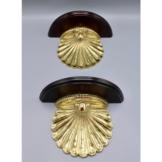 Coastal Coastal Wood and Brass Clam Shell Wall Shelves - a Pair For Sale - Image 3 of 13