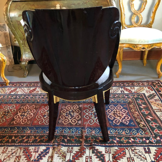 Brown 1920s Vintage Sue Et Mare David Weill Art Deco Side Chair For Sale - Image 8 of 13
