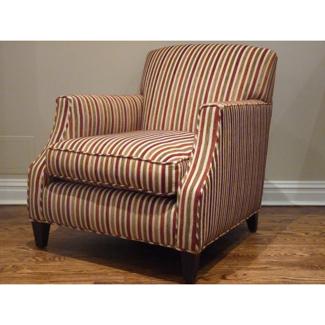 Crate & Barrel Striped Club Chair - Image 2 of 6