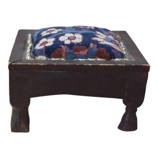 Rustic Bohemian Rug Accented Wooden Stool