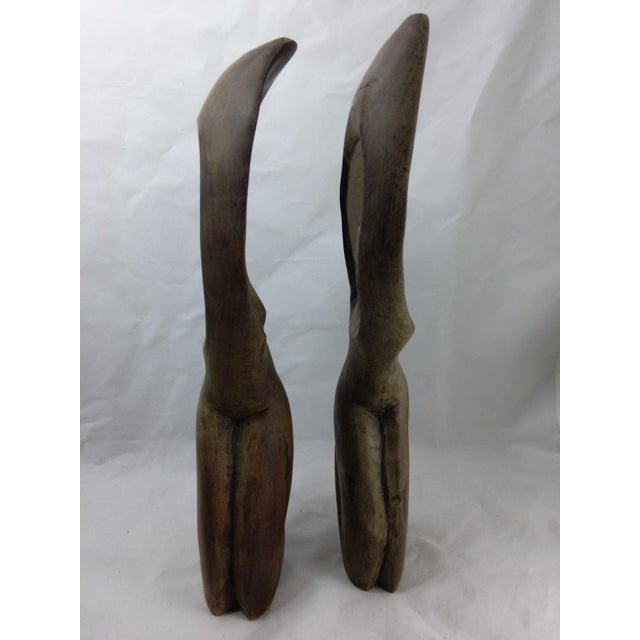 Primitive African Wood Carved Sculptures - Pair - Image 6 of 11