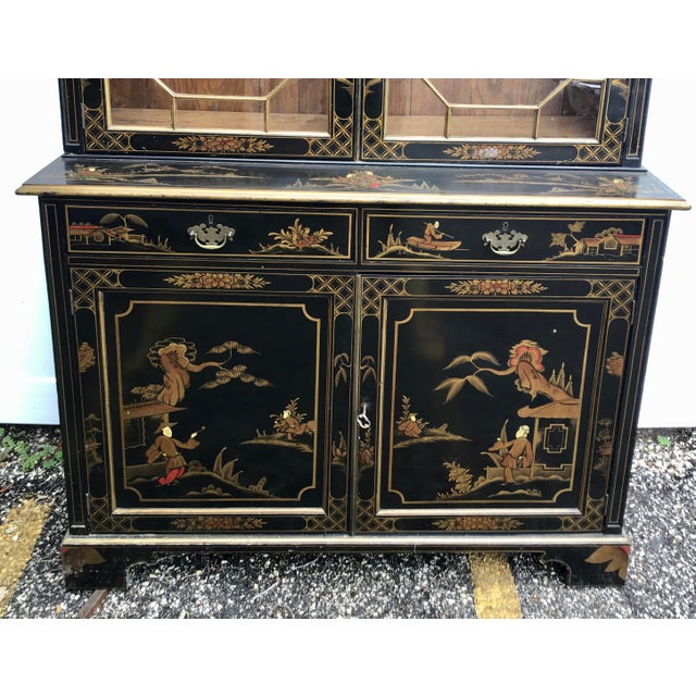 19th Century 19th Century Chippendale Chinoiserie Bookcase Cabinet For Sale - Image 5 of 13
