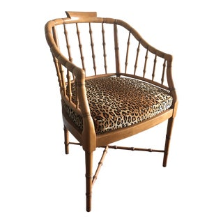 1980s Vintage Faux Bamboo Cane Chair For Sale
