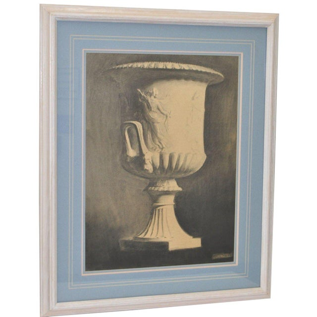 """Charcoal John Reid Mid 19th Century """"Classic Urn"""" Charcoal Drawing For Sale - Image 7 of 7"""