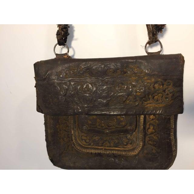African Hand Tooled Leather Tribal Shoulder Bag For Sale - Image 4 of 8